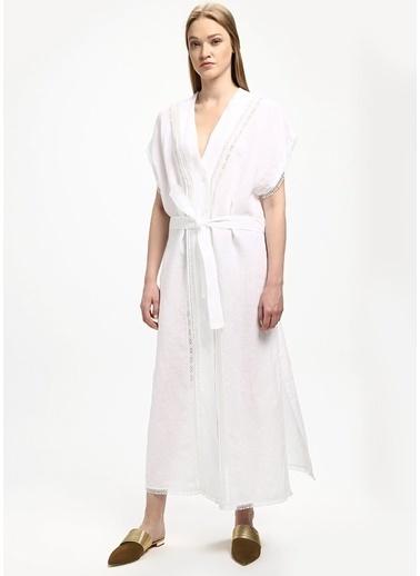 Beymen Collection V Yaka Uzun Keten Elbise Beyaz